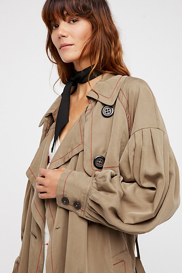 Slide View 6: Balloon Sleeve Trench Coat