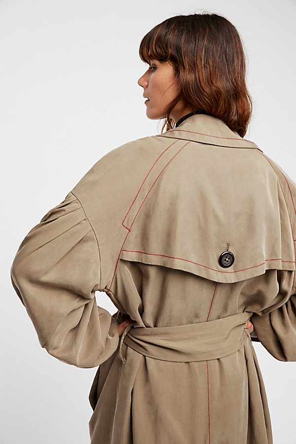 Slide View 7: Balloon Sleeve Trench Coat