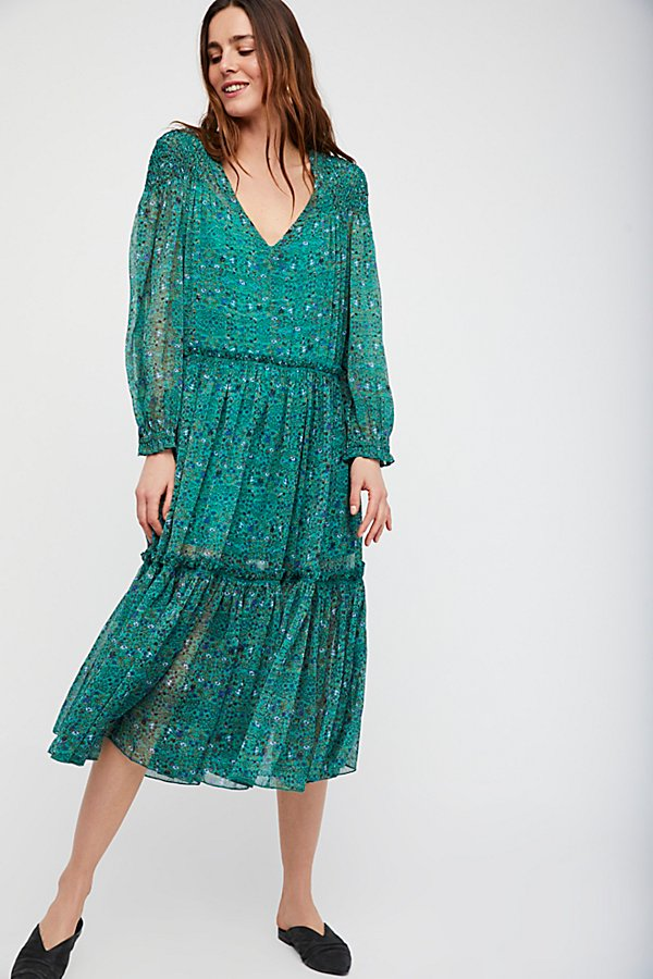 Slide View 1: Smocked Shoulder Midi Dress