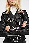 Thumbnail View 2: Faux Leather Embroidered Moto Jacket