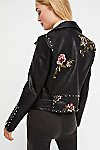 Thumbnail View 4: Faux Leather Embroidered Moto Jacket