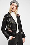 Thumbnail View 1: Faux Leather Embroidered Moto Jacket