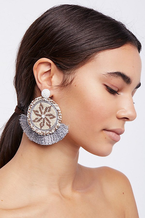 Slide View 1: Havana Fringe Front Hoop Earrings