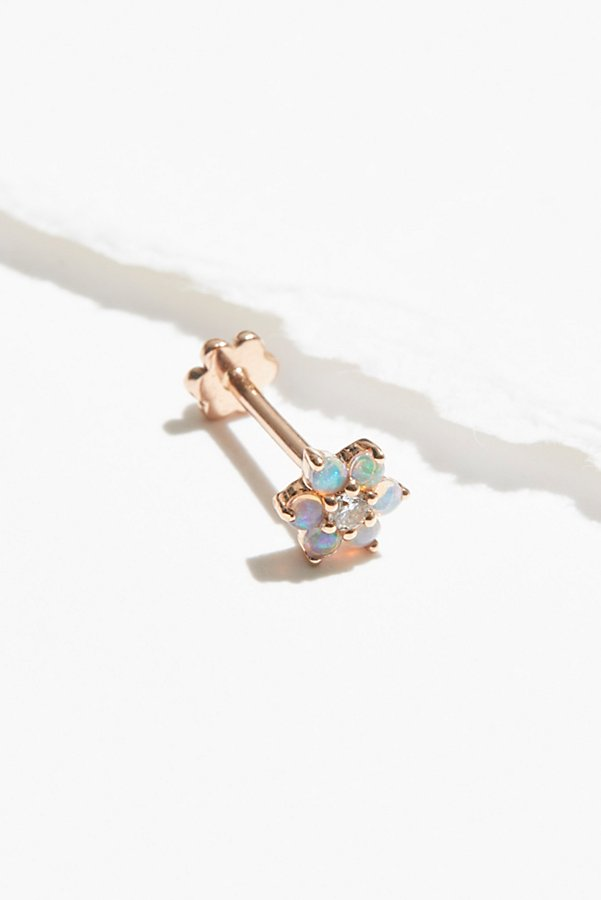 Slide View 1: 5mm Opal Flower Diamond Threader Earring