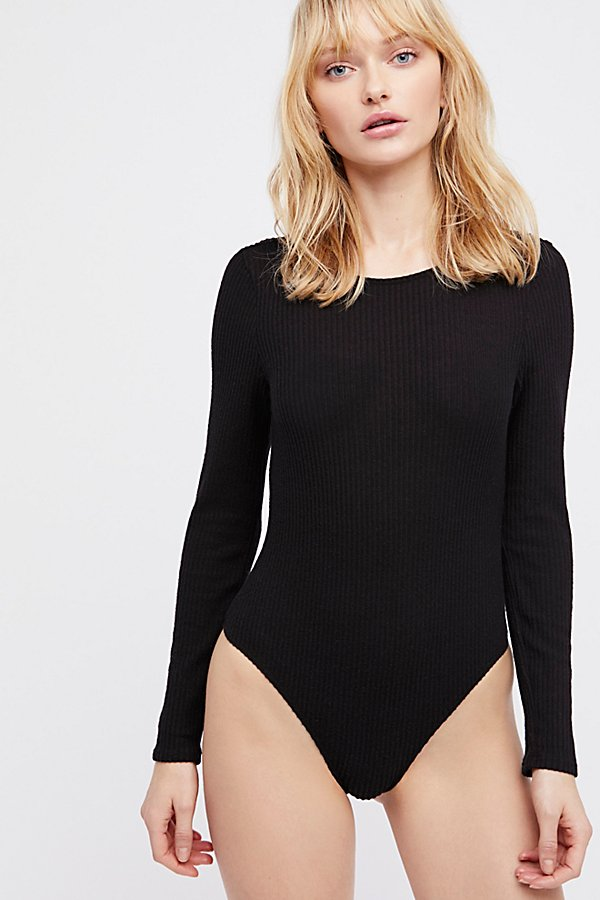 Slide View 1: Natalie Longsleeve Scoop Back Bodysuit