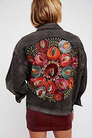 Oversized Embroidered Denim Jacket Free People