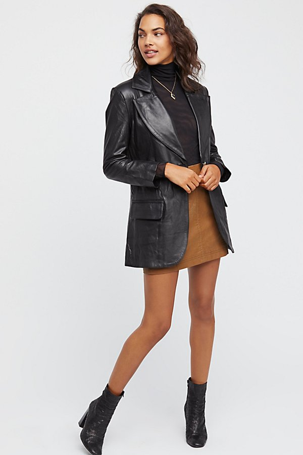 Slide View 1: Long Leather Blazer