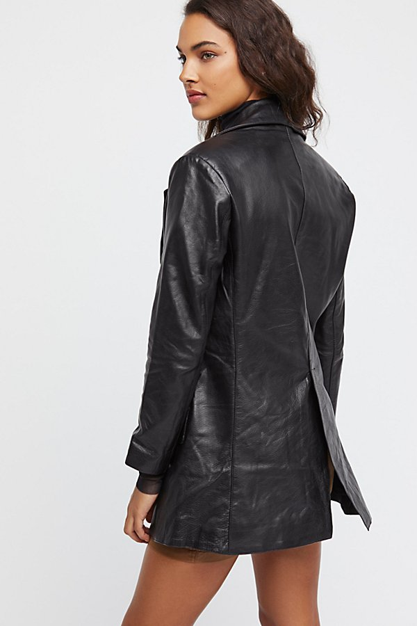 Slide View 2: Long Leather Blazer