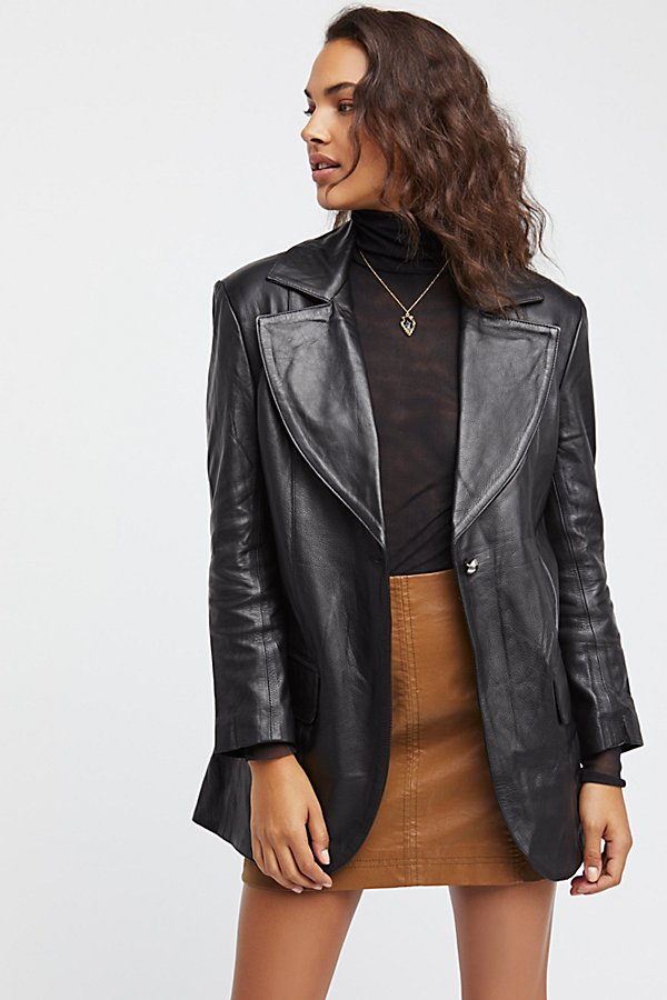 Slide View 3: Long Leather Blazer