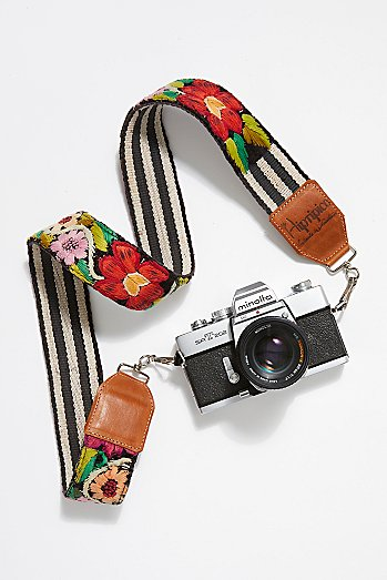 Leather Embroidery Camera Strap