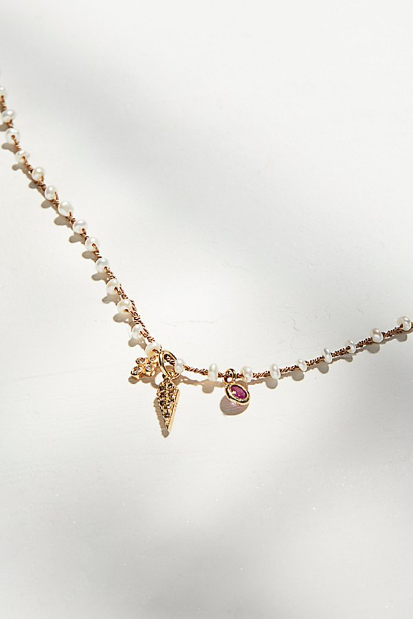 Slide View 3: 14k Diamond Charm & Silk Pearl Necklace