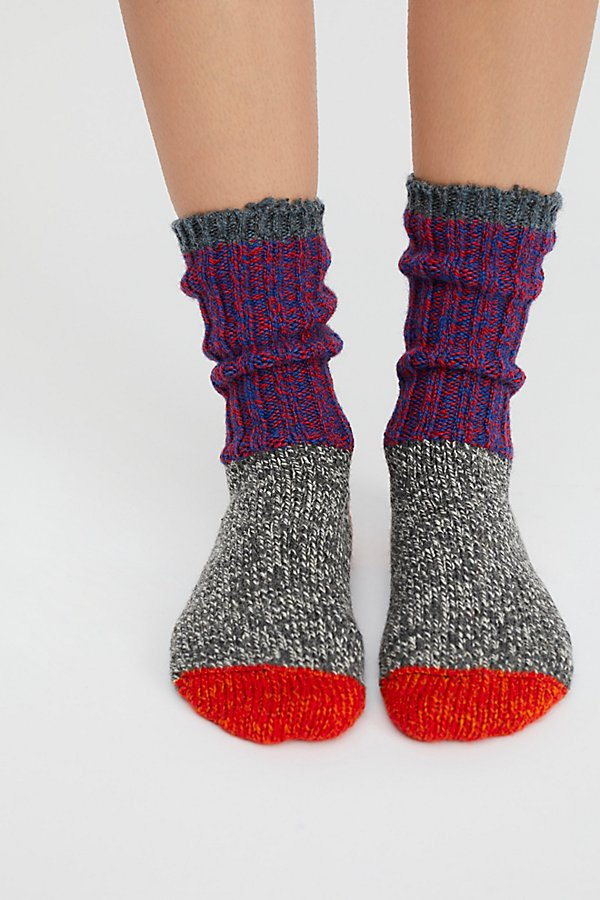 Slide View 1: Merino Color Block Crew Sock
