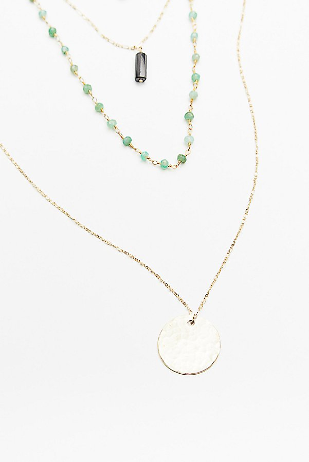 Slide View 3: Semiprecious Stone Coin Necklace