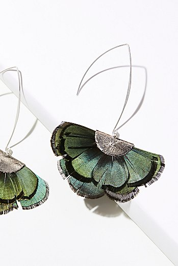 Feather Fan Flare Hoop Earrings