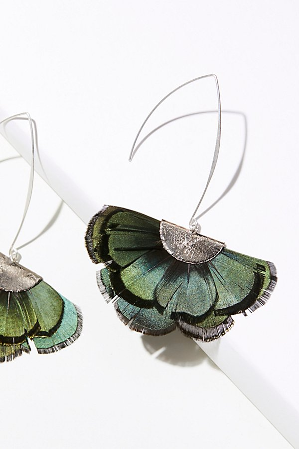 Slide View 1: Feather Fan Flare Hoop Earrings