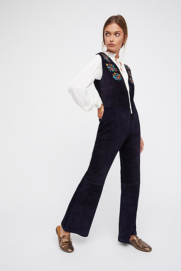 Slide View 1: Embroidered Suede Jumpsuit