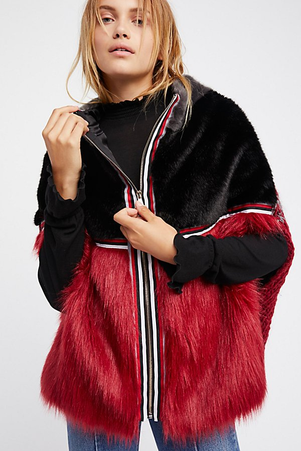 Slide View 1: Cross Line Rebel Faux Fur Cape
