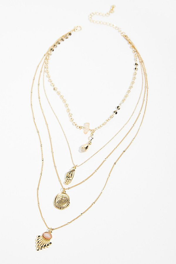 Slide View 1: Delicate Tiered Stone Necklace