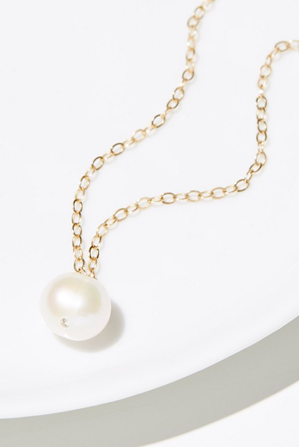 Slide View 1: 14k Pearl x Diamond Necklace