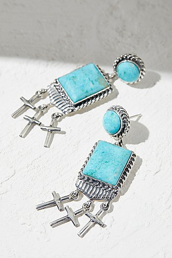 Kingman Turquoise Cross Earrings