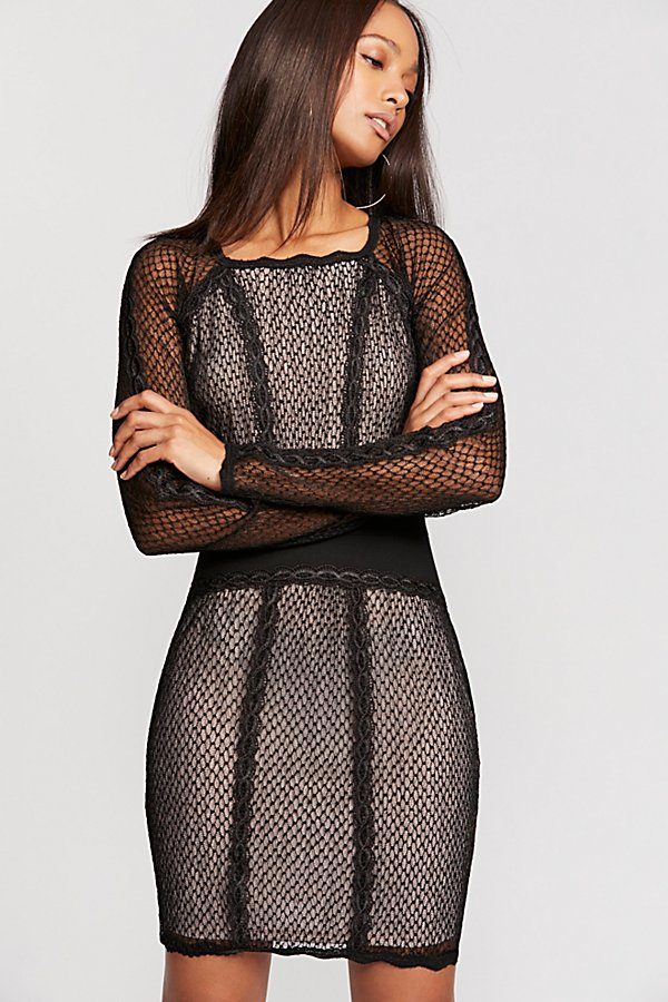 Slide View 1: Mixed Mesh Bodycon