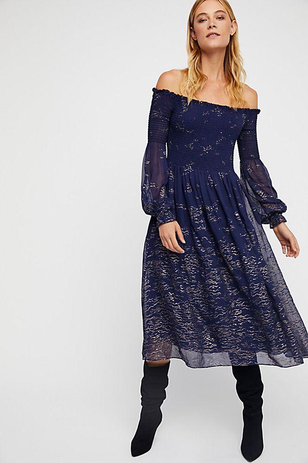 Foiled Smock Midi Dress Free People