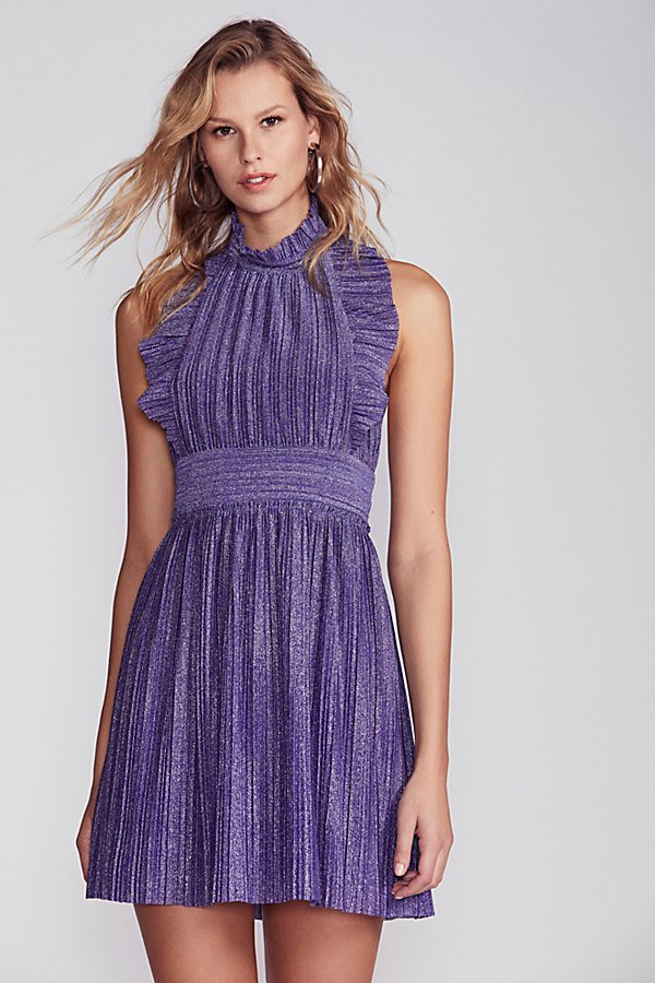 Slide View 2: Pleated Shine Fit & Flare Mini Dress