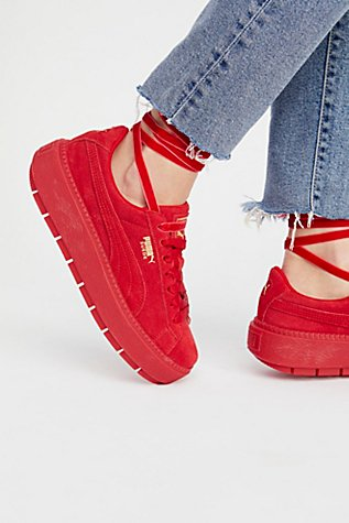 Image result for Puma suede trace platform red