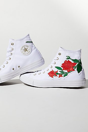 Embroidered Rose Hi Top Sneaker