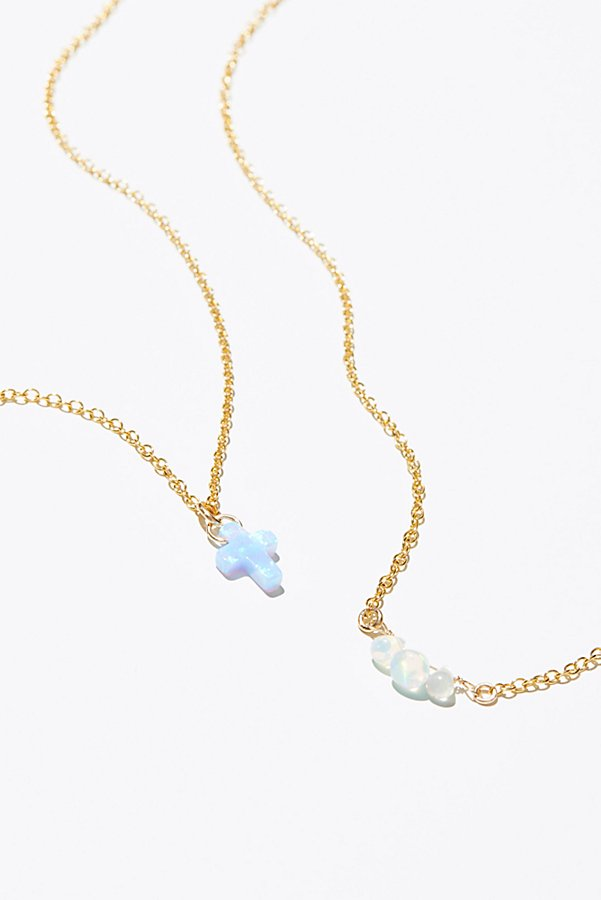 Slide View 3: Raw Stone Charm Necklace Set