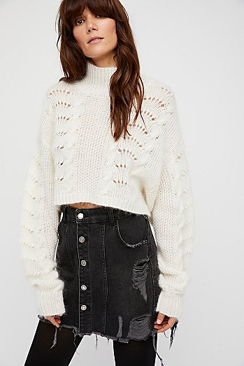 Buttonfront Denim Mini Skirt