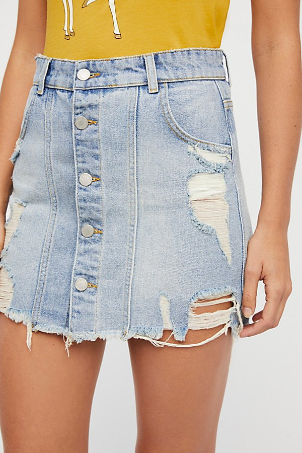 Slide View 4: Buttonfront Denim Mini Skirt