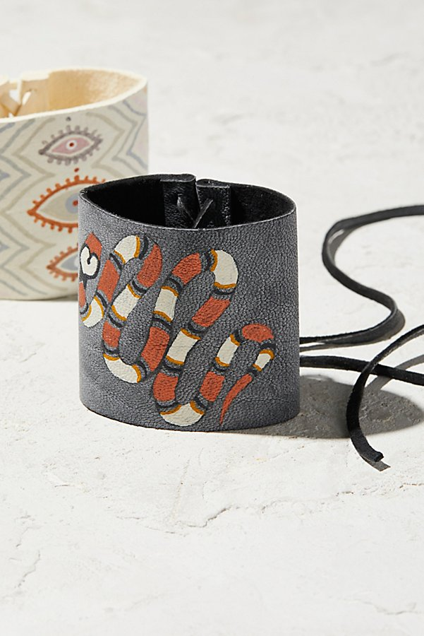 Slide View 1: Hand-Painted Leather Cuff