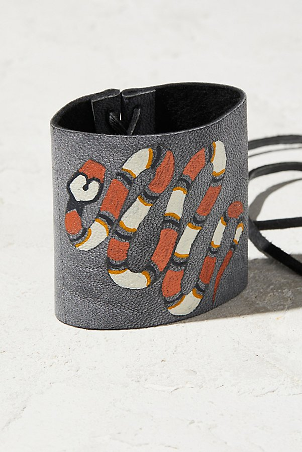 Slide View 2: Hand-Painted Leather Cuff