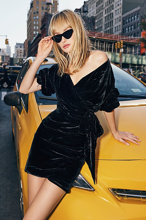 Caroline Velvet Wrap Dress by Fame and Partners at Free People