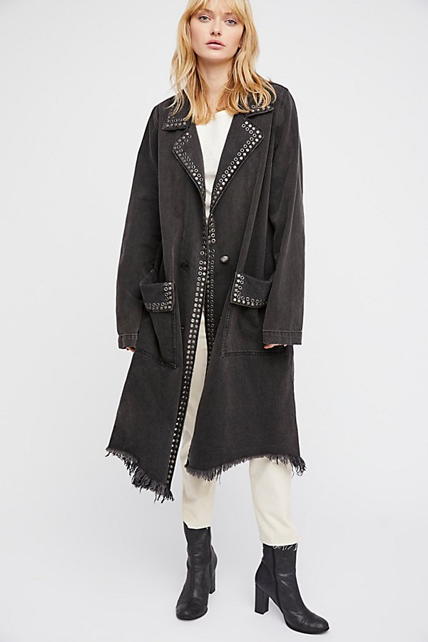 Slide View 1: Studded Denim Duster