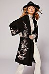 Thumbnail View 1: Suede Embroidered Floral Kimono