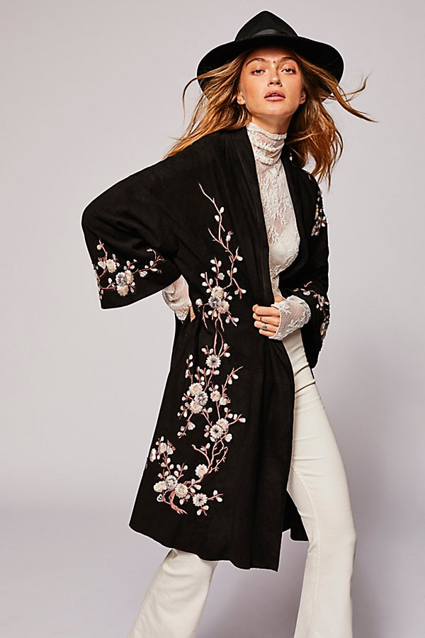 Slide View 1: Suede Embroidered Floral Kimono