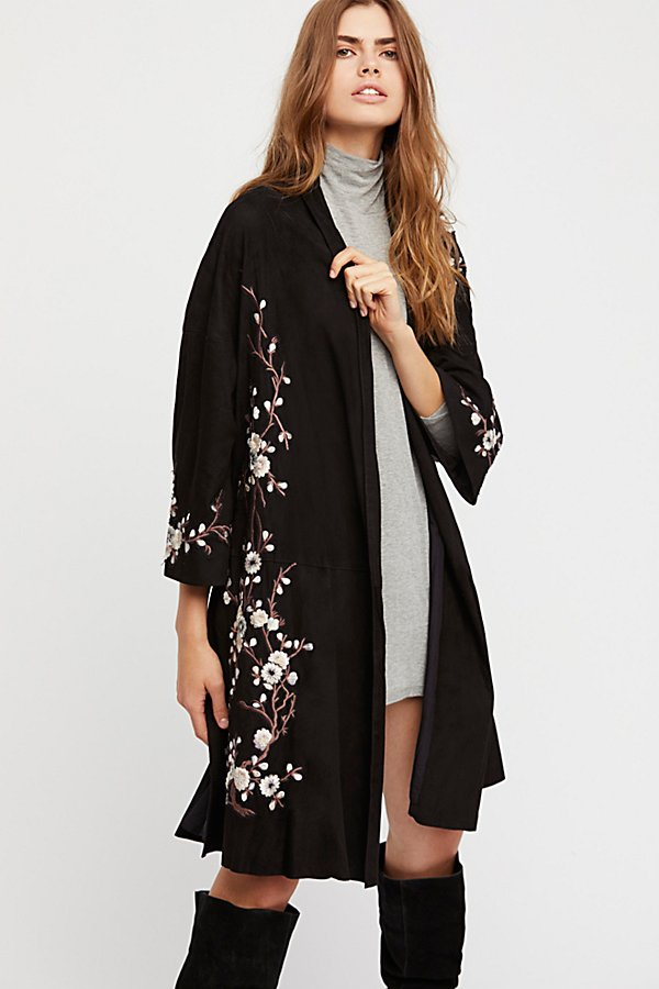 Slide View 2: Suede Embroidered Floral Kimono