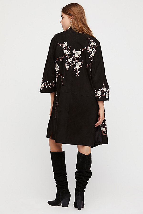 Slide View 4: Suede Embroidered Floral Kimono