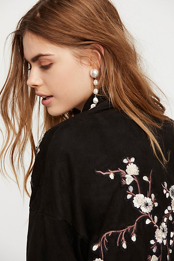 Slide View 5: Suede Embroidered Floral Kimono