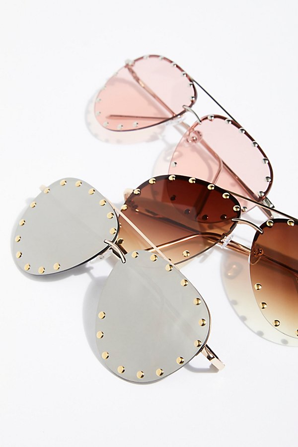 Slide View 5: Star Struck Studded Aviator Sunglasses