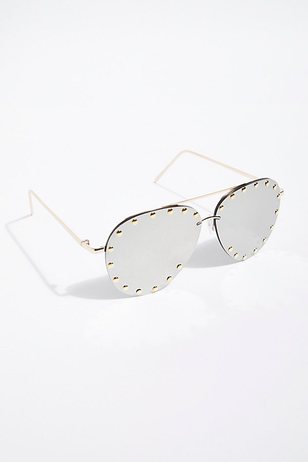 Slide View 2: Star Struck Studded Aviator Sunglasses