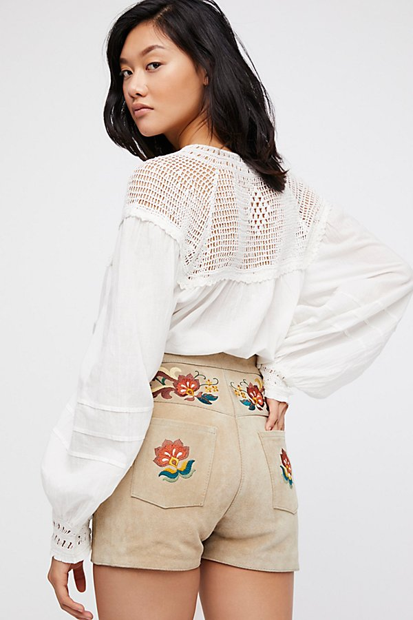 Slide View 2: Embroidered Suede Shorts