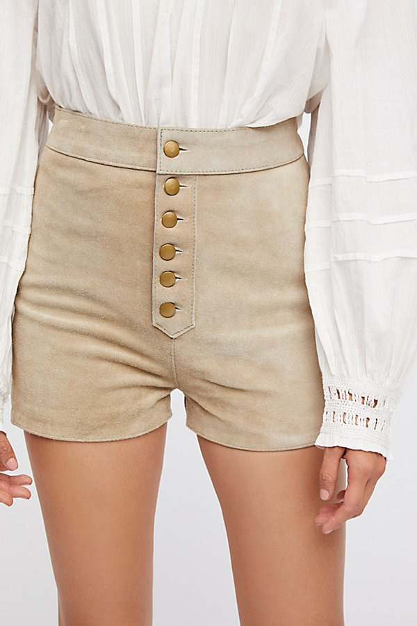 Slide View 4: Embroidered Suede Shorts