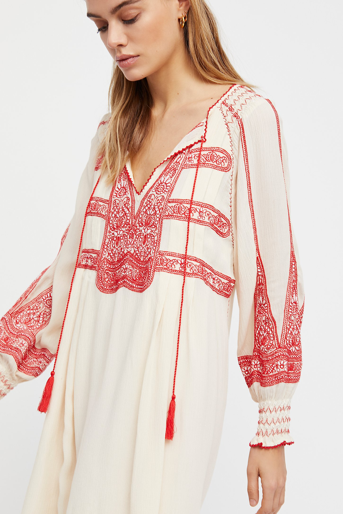 Wind Willow Embroidered Mini Dress - Ivory Free People