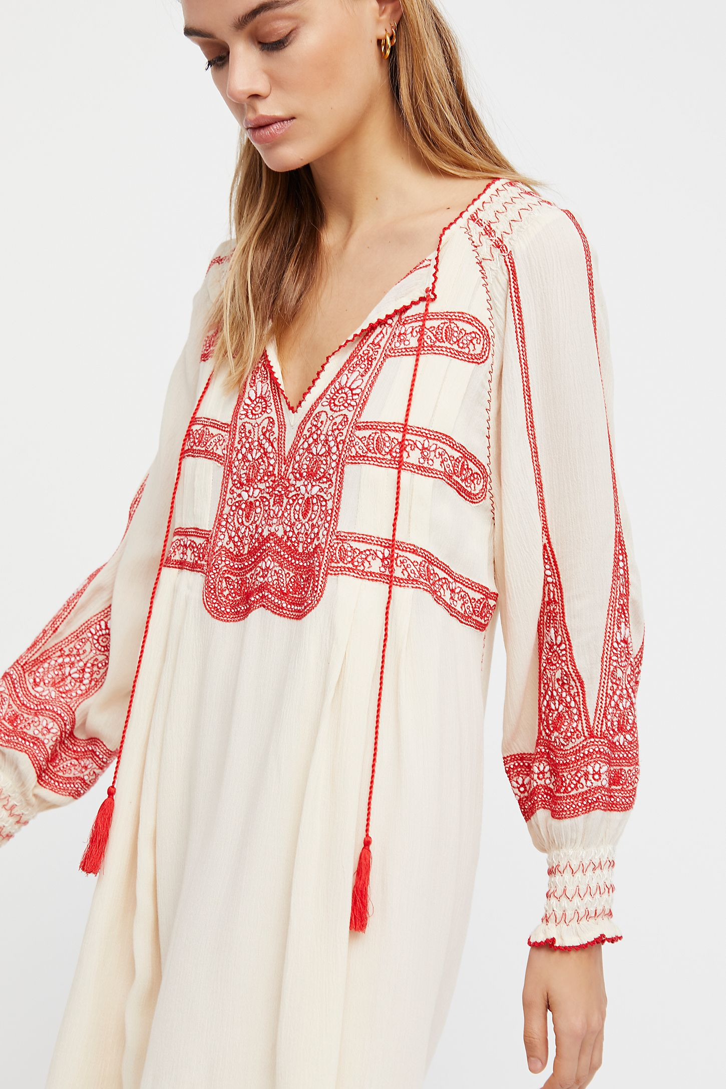 Wind Willow Embroidered Mini Dress - Ivory Free People vzZ1Jy0