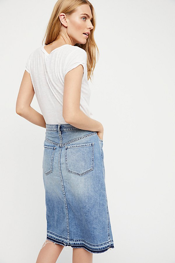 Slide View 2: Denim Midi Skirt