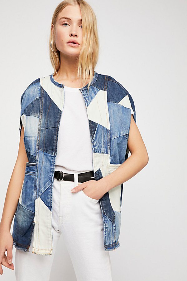 Slide View 1: Piece Of Me Patchwork Denim Poncho