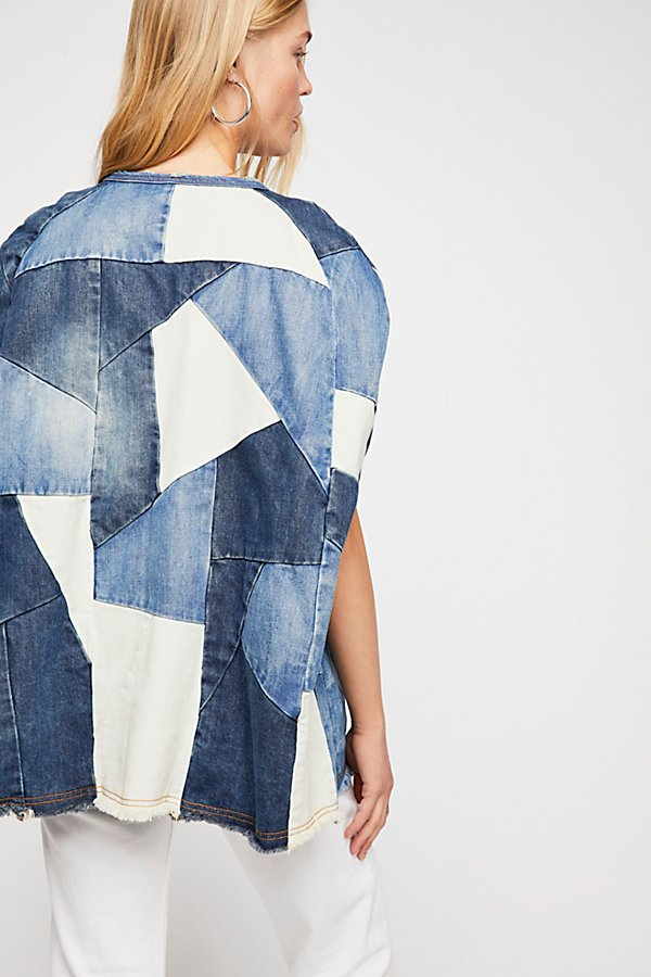 Slide View 2: Piece Of Me Patchwork Denim Poncho